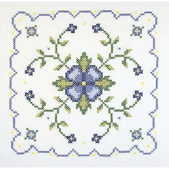 Blue And Yellow Geometric Quilt Blocks Stamped Cross Stitch 18