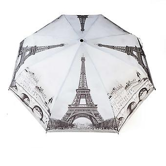 Umbrella automatic Pocket umbrella motif Paris black and white