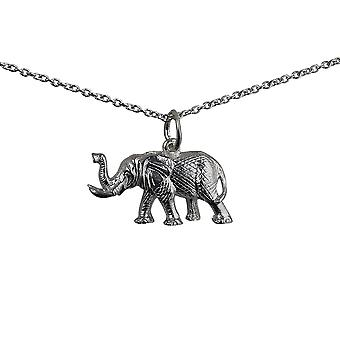 Silver 10x20mm Elephant Pendant with a rolo Chain 14 inches Only Suitable for Children