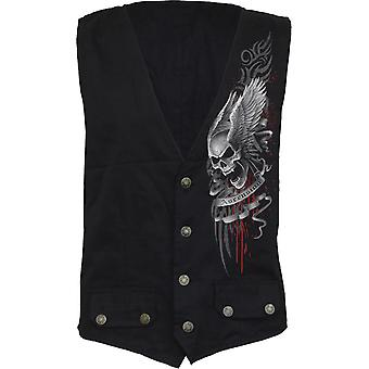 Spiral Direct Gothic ASCENSION - Gothic Waistcoat Four Button with Lining|Skulls|Wings|Tribal