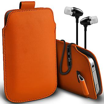 ( Orange + Earphones) Pouch Case For Xiaomi Redmi 2A Enhanced Edition case Premium Stylish Faux Leather Pull Tab Pouch Skin Case Various Colours To Choose From With High Quality Fitted in Ear Buds Stereo Hands Headphones Headset with Built in Micro phone Mic and On-Off Button Xiaomi Redmi 2A Enhanced Edition Cover By i-Tronixs