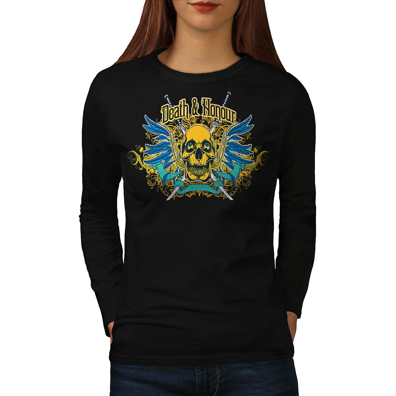 Death And Honour Fear Skull Head Women Black Long Sleeve T-shirt | Wellcoda