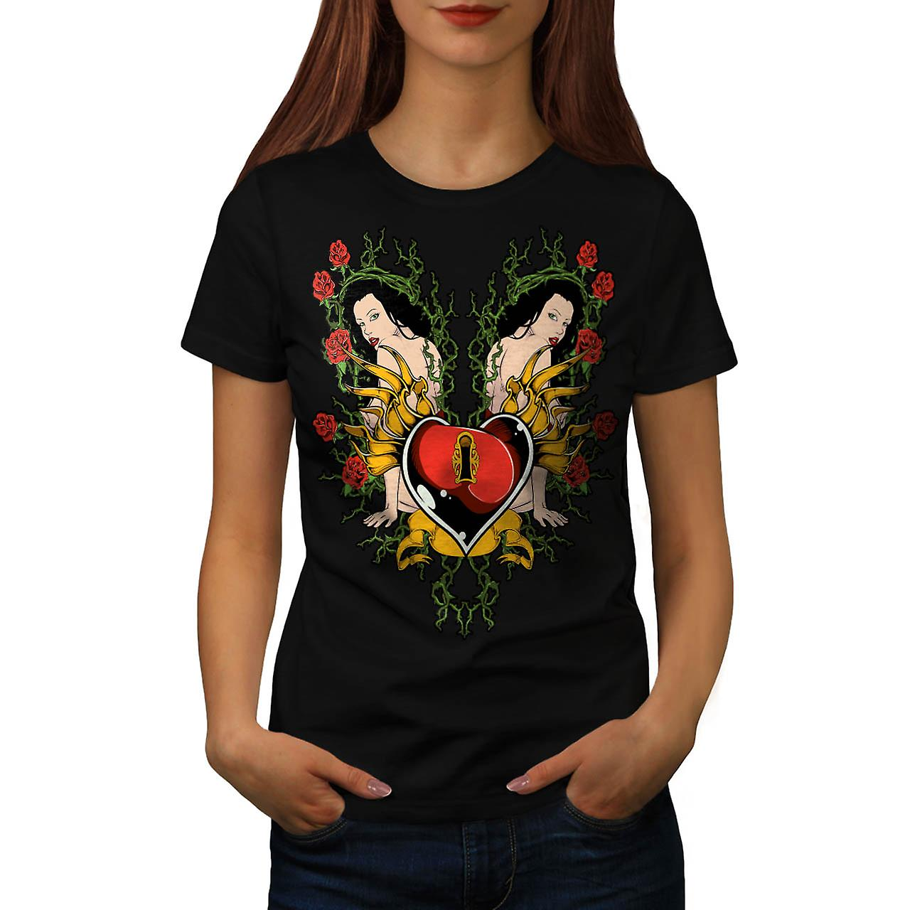 Key To My Heart Love Naked Girl Women Black T-shirt | Wellcoda