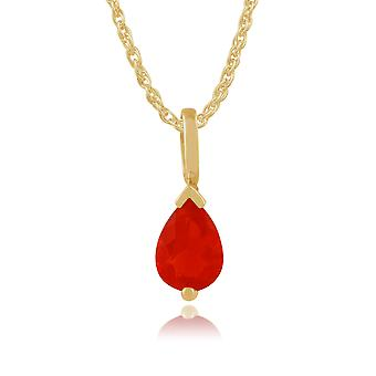 Gemondo 9ct Yellow Gold Pear Shaped 0.50ct Fire Opal Pendant on Chain