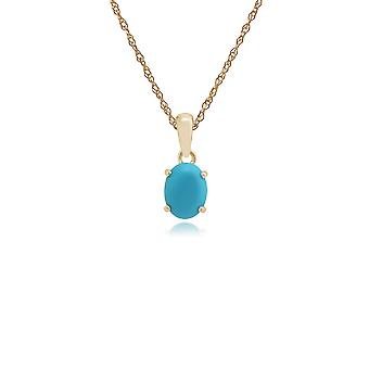 9ct Yellow Gold 0.86ct Turquoise Oval Single Stone Pendant on Chain