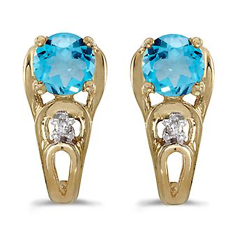 14k Yellow Gold Round Blue Topaz And Diamond Earrings