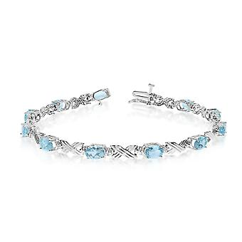 10K White Gold Oval Aquamarine and Diamond Bracelet