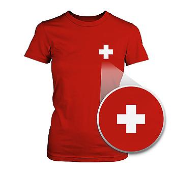 Switzerland Flag Pocket Printed Red Tee Women's Short Sleeve T-shirt