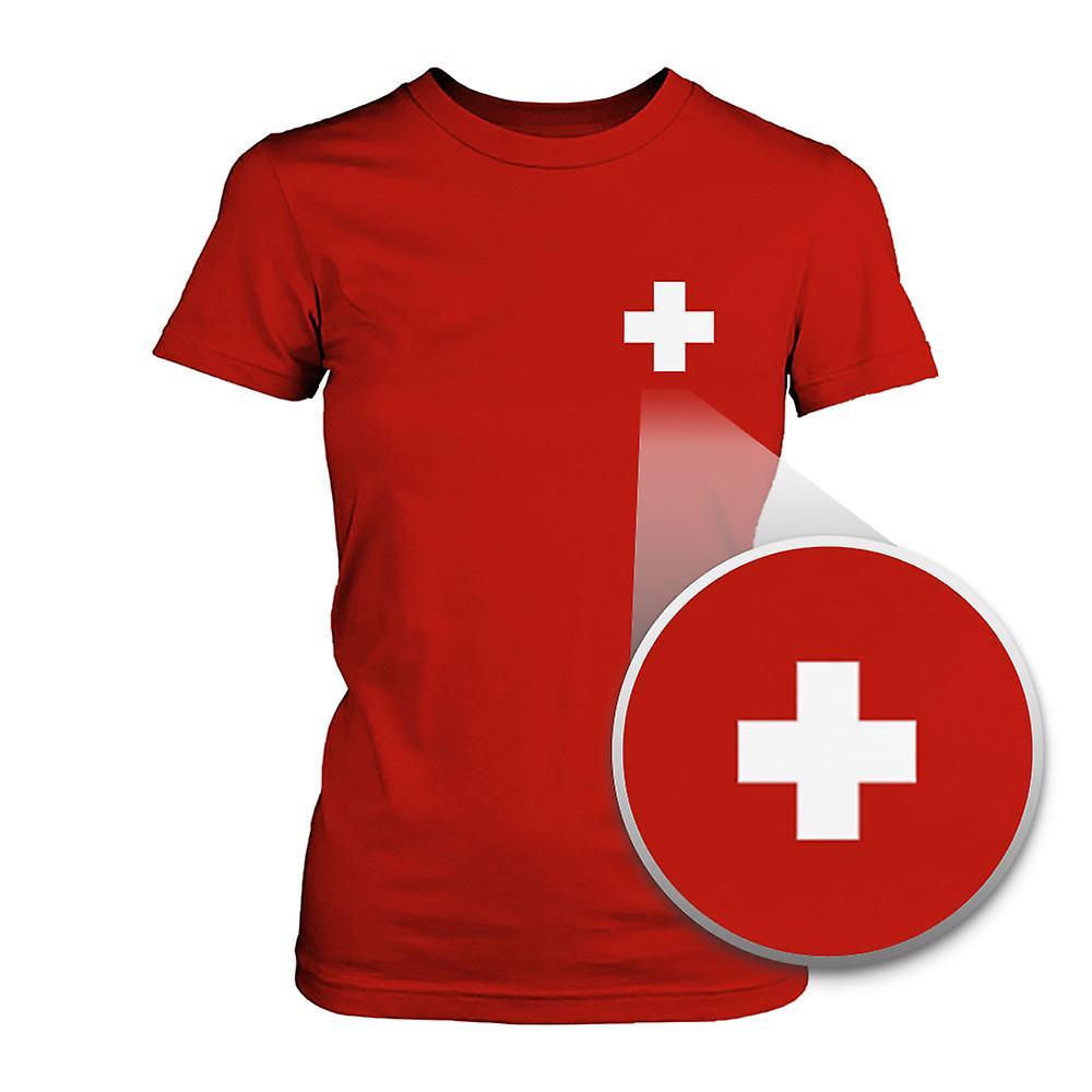 Switzerland Flag Pocket Printed Red Tee Women's Short Sleeve T-shirt