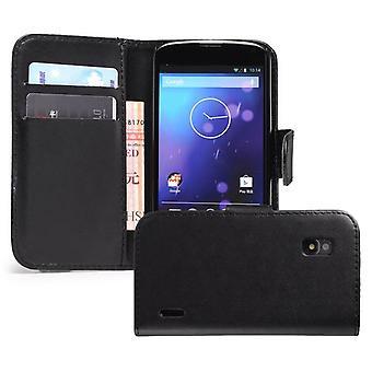 Bogen tegnebog PU læder tilfælde dække for Google LG Nexus 4 E960 + stylus - sort