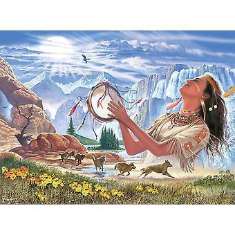 Indiske Squaw og ulve plakat Print af Steve Crisp