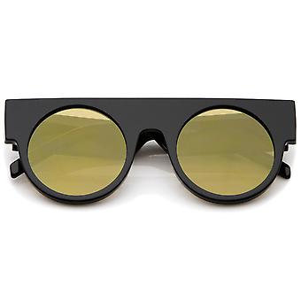Futuristic Geometric Flat Top Color Mirrored Flat Lens Round Sunglasses 47mm