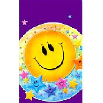 "Smiley Stars Party Plastic Leak-Proof Tablecloth Size 54"" x 96""."
