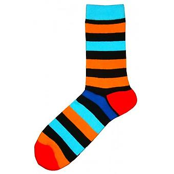Bassin and Brown Multi Stripe Contrasting Heel and Toe Socks - Black/Blue/Orange