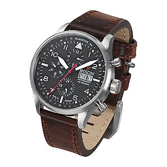 Bison men's watch wristwatch automatic bison No.. 2 BI0002BKWH leather