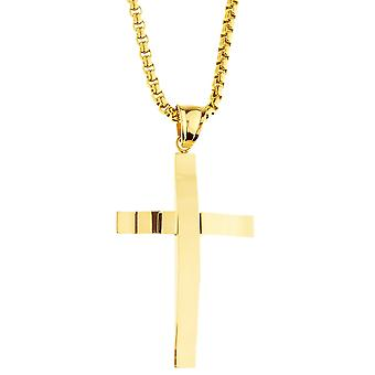 Iced out stainless steel pendant necklace - cross gold