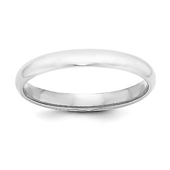 Sterling Silver Solid Polished Half Round Engravable 3mm Half-Round Band Ring - Ring Size: 4 to 13.5