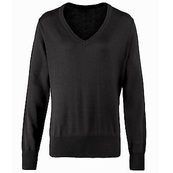 Premier Womens/Ladies V-Neck Knitted Sweater / Top