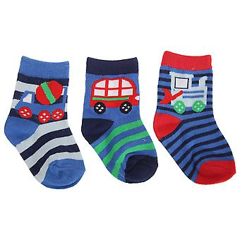 Baby Boys Cotton Rich Vehicle Design Socks (Pack Of 3)