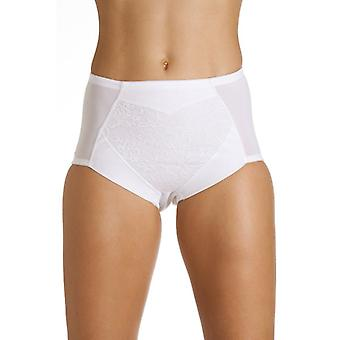 Camille  White Firm Control High Waist Shapewear Lace Briefs