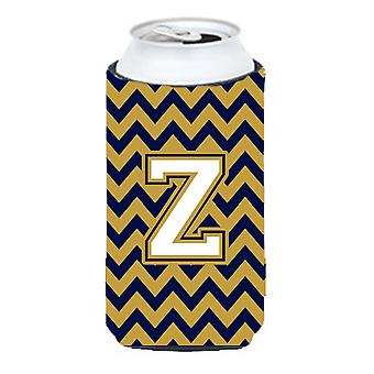 Letter Z Chevron Navy Blue and Gold Tall Boy Beverage Insulator Hugger