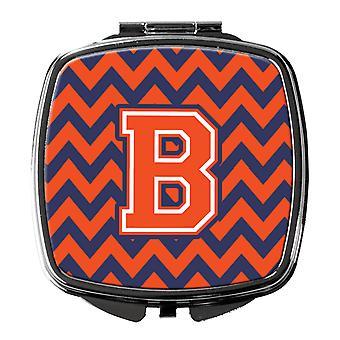 Carolines Schätze CJ1042 BSCM Buchstabe B Chevron Orange und blau Taschenspiegel