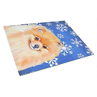 Pomeranian Winter Snowflakes Holiday Glass Cutting Board Large