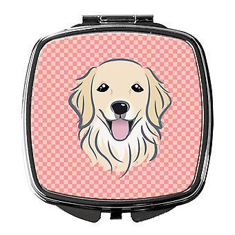 Carolines Schätze BB1205SCM Schachbrett rosa Golden Retriever Taschenspiegel