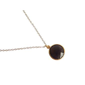 Gemshine - ladies - necklace - 925 Silver - gold plated - smoky quartz - Brown - CANDY - 45 cm