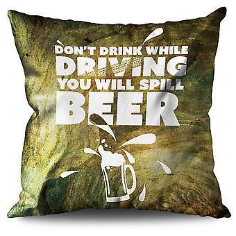 Drink Drive Sarcasm Funny Linen Cushion Drink Drive Sarcasm Funny | Wellcoda