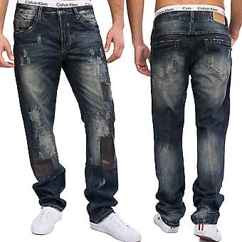 Fancy men's 5-Pocket Jeans trousers four star destroyed patches regular fit