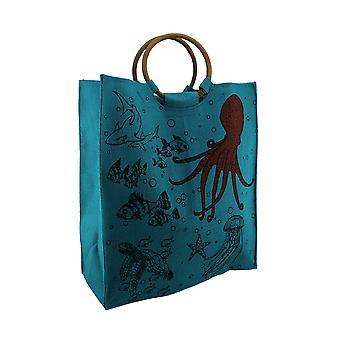 Aqua bleu tissé sac cabas en Jute vie sous-marine