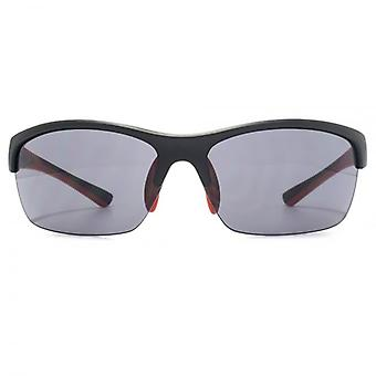 FCUK Semi Rimless Sports Wrap Sunglasses In Matte Black Red