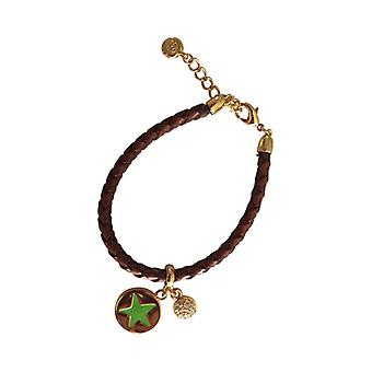 Braided Leather Bracelet With Silver Pendant As0035