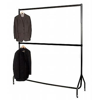 6' Wide 6'1 High Black Garment Rail. Chrome Top Rail & Centre Rail