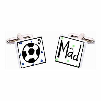 Football Mad Cufflinks by Sonia Spencer, in Presentation Gift Box. Hand painted
