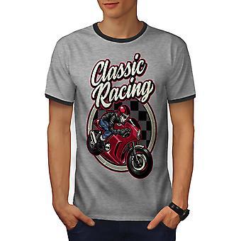 Classic Racing Men Heather Grey / Heather Dark GreyRinger T-shirt | Wellcoda