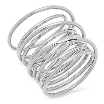 Ladies rustfritt stål virvel Wrap Ring