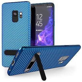 Samsung Galaxy S9 Ultra Thin Slim Carbon Fibre TPU With Stand - Blue