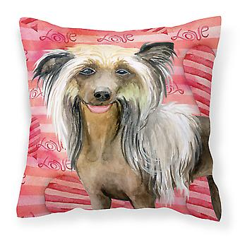 Carolines Treasures  BB9746PW1818 Chinese Crested Love Fabric Decorative Pillow