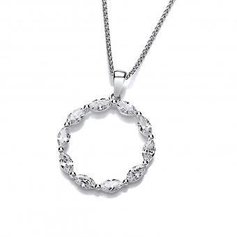 Cavendish French Silver and Marquise CZ Circle Pendant without Chain