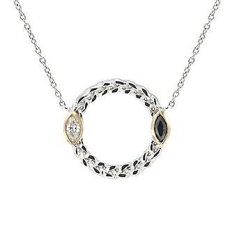 Halsband i 925 Silver cirkel och kristaller Swarovski Elements svart och vitt