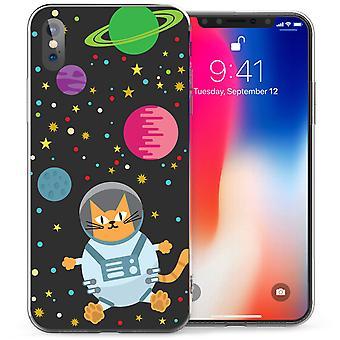 iPhone X Cartoon Space Cat TPU Gel Case - Black
