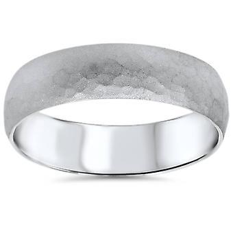 Mens Hammered White Gold Wedding Band Milgrain Ring 6mm