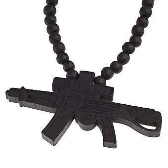 Wood style Bead Necklace - KALASHNIKOV black