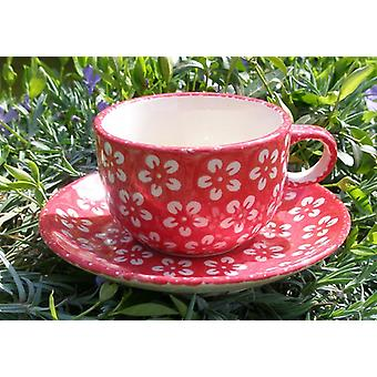 Cup with saucer, Bolesławiec red, BSN m-4239