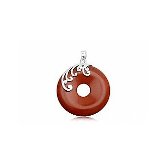 Round woman in sandstone Brown Gemstone pendant and Silver 925