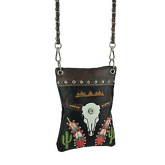 Steer brodé Skull Style sud-ouest bandoulière Mini sac à main