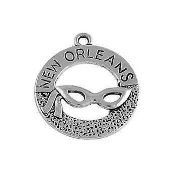 Packet 5 x Antique Silver Tibetan 28mm New Orleans Mask Charm/Pendant ZX02750