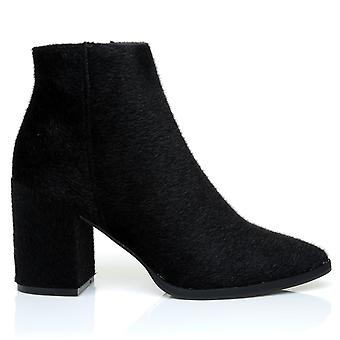 EAGLE Black Pony Tail Chunky Block Heel Pointed Ankle Boots